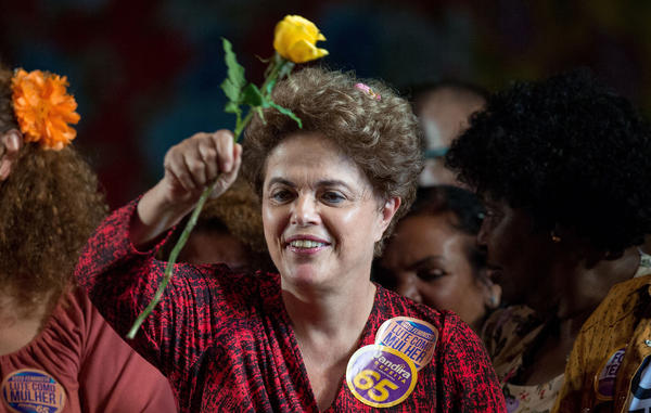 Brazil's former president, Dilma Rousseff, attends a political rally in Rio de Janeiro on Sept. 21. Rousseff, who was jailed for three years in the 1970s as a member of a guerrilla group, was twice elected president in Brazil. She was impeached last month.
