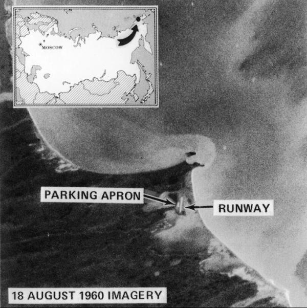 Some of the first images taken by CORONA captured Mys Shmidta airfield in Chukotka, Russia — an Arctic staging base for Soviet bomber flights.