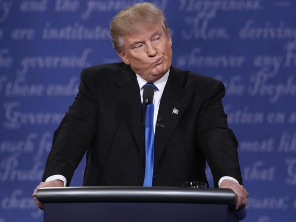 Donald Trump on the set of the Sept. 26 presidential debate in Hempstead, N.Y.