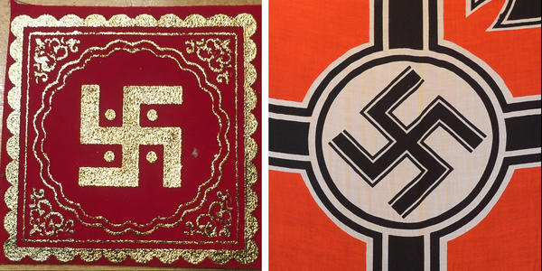 (Left) The Hindu swastika. (Right) A Nazi flag hangs in a Nazi-themed cafe in Bandung, Indonesia in 2013.
