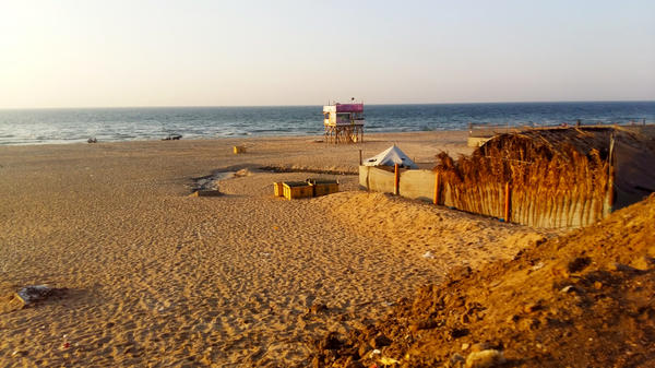One of the surf beaches along Gaza's 25-mile Mediterranean coastline, with a lifeguard station.