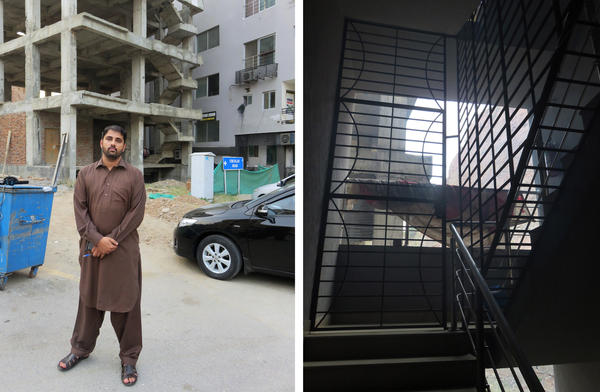Police detective Aizaz Azam (left) stands outside the apartment block where 24 impoverished Pakistanis were imprisoned by a kidney trafficking gang. Barred windows on stairs leading to the apartment kept prisoners from escaping.