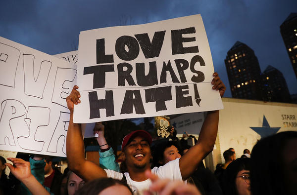 Anti-Trump protesters gather in a park on Wednesday as New Yorkers react to the election.