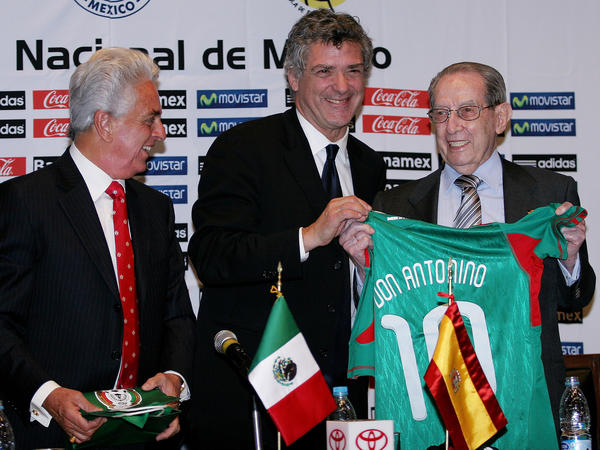 Fernandez (right) is shown here in Mexico City in 2010 with Justino Compean (left), president of the Mexican Soccer Federation, and Angel Maria Villar of the Spanish Royal Soccer Federation. Fernandez migrated from Spain to Mexico as a young man.