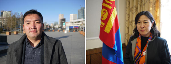 (Left) Mogi Bontoi runs the market intelligence firm Cover Mongolia. He says the country is likely to default on billions of dollars' worth of loans. (Right) Undraa Agvaanluvsan, elected to Mongolia's parliament in June, vows to help Mongolia climb out of its massive debt problem.