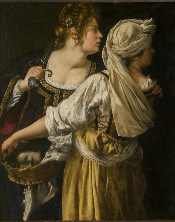 """In <em>Judith and her Maidservant, </em>painted a year after Gentileschi testified in a rape trial, the head of Holofernes lies in a basket and Judith is portrayed proudly as victor. """"That is not a characteristic Judith pose,"""" says a curator of the Rome exhibition."""