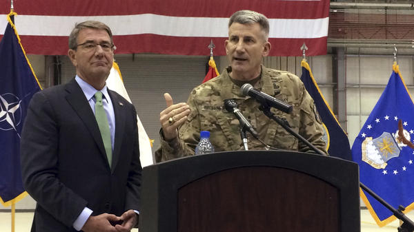 Defense Secretary Ash Carter and Army Gen. John Nicholson speak at a news conference during Carter's farewell visit to Afghanistan.