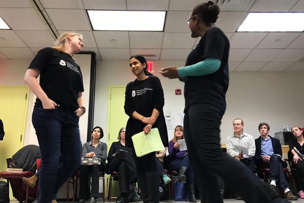 Center for Anti-Violence Education trainers (from left) Christen Brandt, Vineeta Kapahi and Tish Tab lead a workshop in New York City on how bystanders who witness bias-based attacks and hate crimes can intervene.