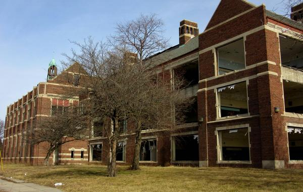 Illegal scrappers removed the windows, lockers, and wiring from the Hutchins Intermediate School in Detroit shortly after it was closed.