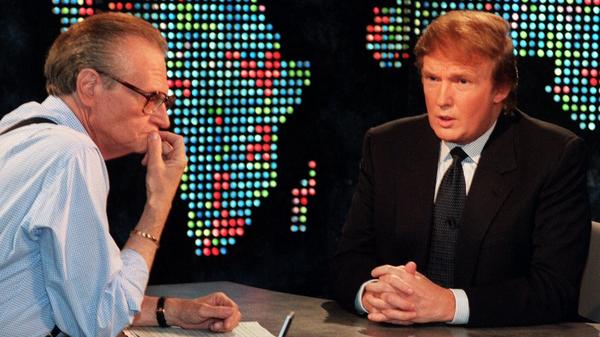 Donald Trump interviewed on <em>Larry King Live</em> on Oct, 7, 1999. Trump said he had formed an exploratory committee to help him determine whether he could win the White House as a Reform Party candidate.