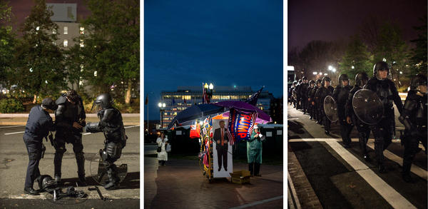 (Left) A Capitol Hill police officer gets help with his riot gear early on the morning of the inauguration of Donald J. Trump. (Center) A vendor sells Trump merchandise at the entrance to the National Mall. (Right) Capitol Hill police line up in riot gear in the early morning hours.