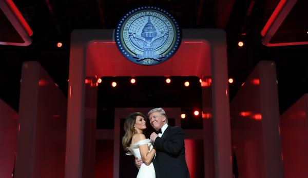 President Donald Trump and the first lady Melania Trump dance at the Liberty Ball, the first of three Friday evening, at the Washington, D.C. Convention Center.
