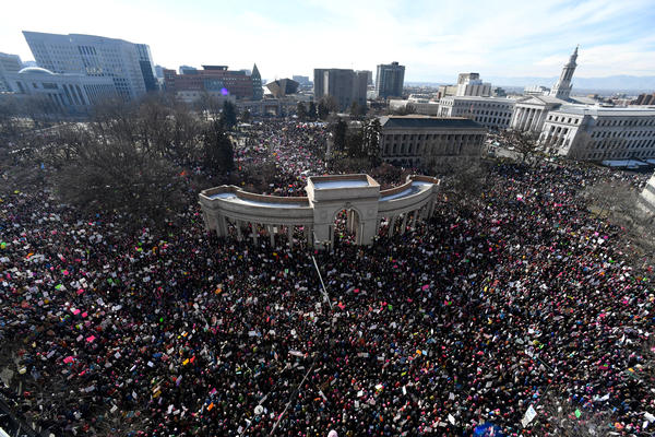 Tens of thousands gather in Civic Center Park for the Women's March on Denver.
