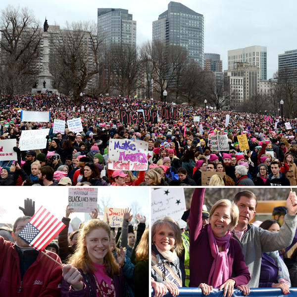 Tens of thousands participated in the Boston Women's March, including Sen. Elizabeth Warren and Mayor Marty Walsh (bottom right).