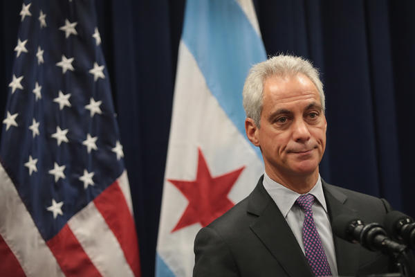 Chicago Mayor Rahm Emanuel speaks at a press conference today rejecting the inference that the city needs the National Guard to help patrol Chicago streets.