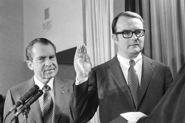 William Ruckelshaus is sworn in as administrator of the new Environmental Protection Agency as President Richard Nixon looks on at the White House on Dec. 4, 1970.