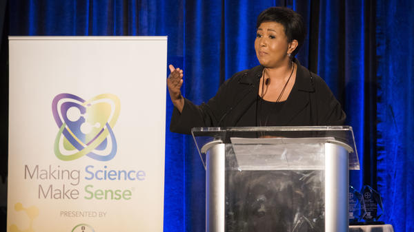 Mae Jemison addresses congressional representatives and distinguished guests at Bayer's Making Science Make Sense 20th anniversary celebration in 2015.