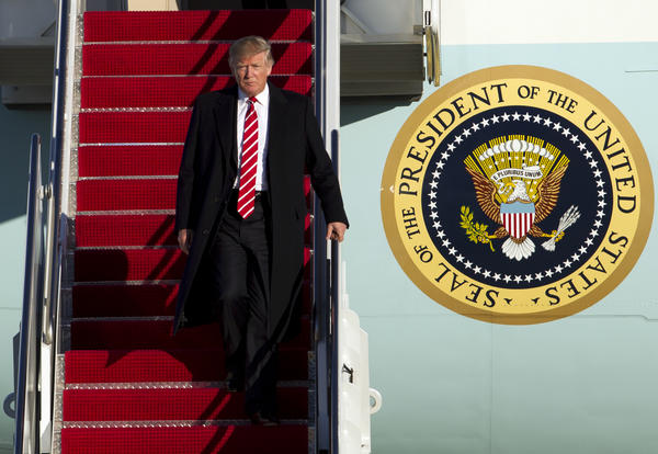 President Trump walks down the steps of Air Force One upon his arrival at Andrews Air Force Base, Md., on Feb. 6, returning from a weekend trip to Florida.