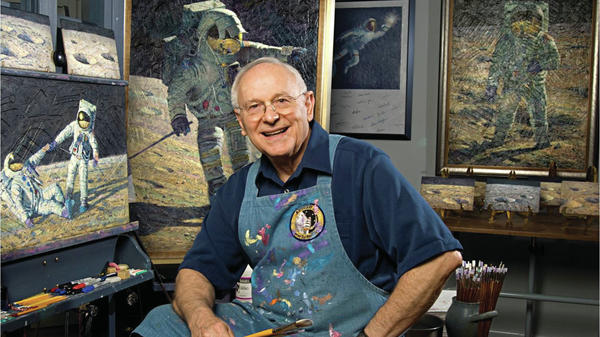 Former astronaut Alan Bean became a painter, re-creating what it was like to be on the moon, using actual moon dust and ground-up remnants of Apollo spacecraft.