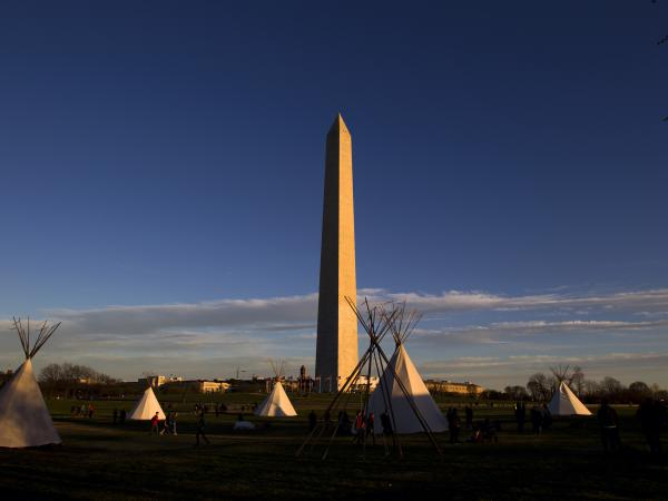 Demonstrators camped on the National Mall on Wednesday. On Friday, people marched to the White House.