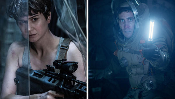 <em>Life</em> and <em>Alien: Covenant</em> (both 2017 films) are about astronauts who have disastrous encounters with extraterrestrials. Pictured: Katherine Waterston (left) in <em>Alien: Covenant</em> and Jake Gyllenhaal in <em>Life</em>.