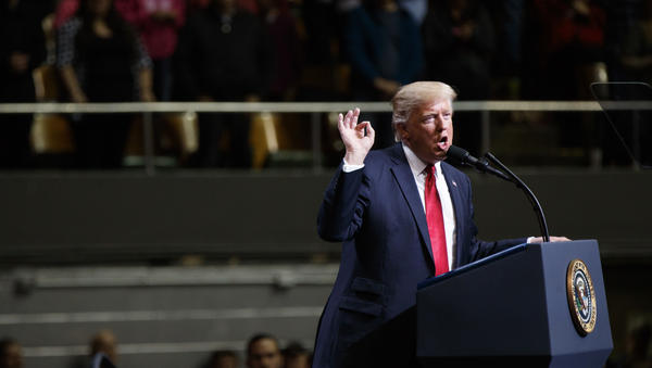 President Trump speaks during a rally on Wednesday in Nashville, Tenn., a day before his budget proposal was released.