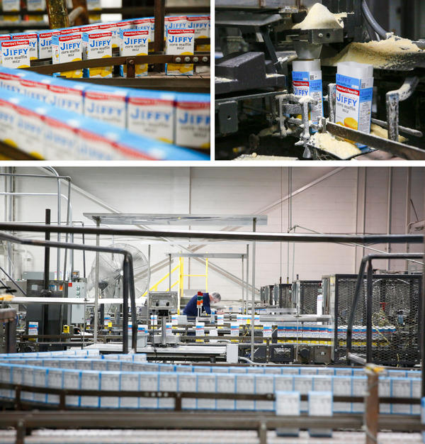 Scenes from the factory floor. (Top left) Filled and sealed boxes of corn muffin mix on a conveyor. (Top right) When boxes are filled with corn muffin mix, an extra little burst of golden mix shoots up into the air. (Bottom) A factory worker checks boxes after they've been filled with mix.