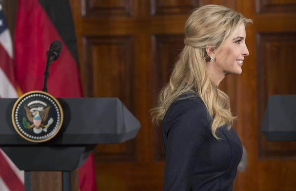 Ivanka Trump arrives for a joint news conference between President Trump and German Chancellor Angela Merkel in the East Room of the White House earlier this month. Ethics experts say that Ivanka Trump's dual role as a business owner and West Wing staffer raises questions about conflicts of interest. Ivanka says she will comply voluntarily with ethics rules.