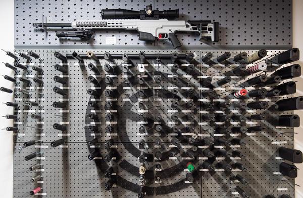 Various silencers on display at SilencerCo, a Utah-based company that sells silencers.