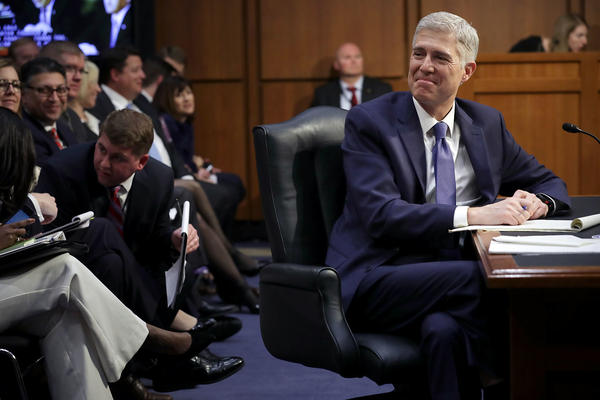 Judge Neil Gorsuch listens to senators' opening statements during first day of his Supreme Court confirmation hearing before the Senate Judiciary Committee in the Hart Senate Office Building on Monday in Washington, DC.