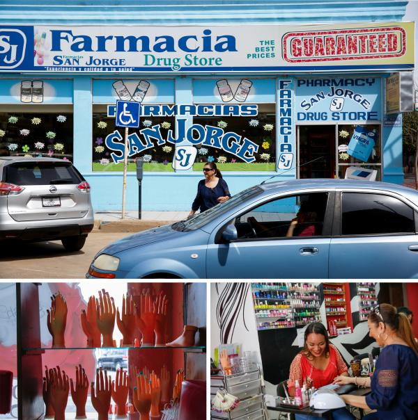 (Top) Nogales, Mexico, is packed with pharmacies, salons and dental clinics, offering services at a fraction of what they would cost in the U.S. (Bottom right) Rubi Celeste gives Delia Garza a manicure at Excellence Beauty Salon in Nogales, Mexico. (Bottom left) Hand mannequins in the window of the beauty salon.