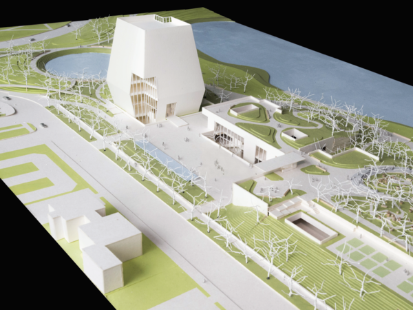 A three-dimensional model of the proposed Obama Presidential Center in Chicago.