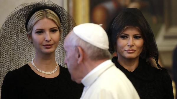 President Trump's daughter Ivanka (left) and his wife, Melania, both covered their hair when meeting with Pope Francis on Wednesday at the Vatican.