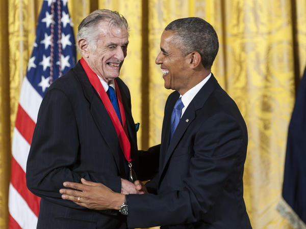 President Obama presents the National Humanities Medal to Frank Deford at the White House in 2013.