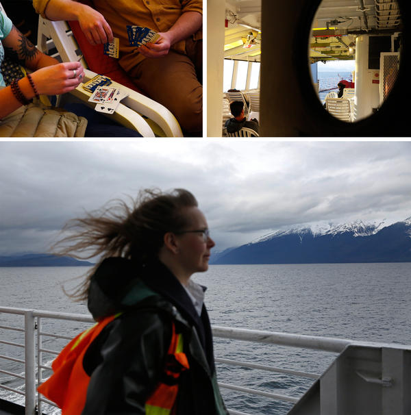 Top: Passengers on the heated deck. Bottom: Purser Mary Dahle poses for a portrait.