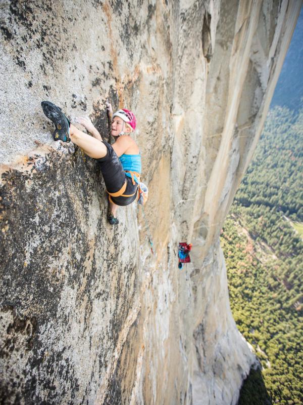 Harrington climbs a rock face in Yosemite National Park in 2015.