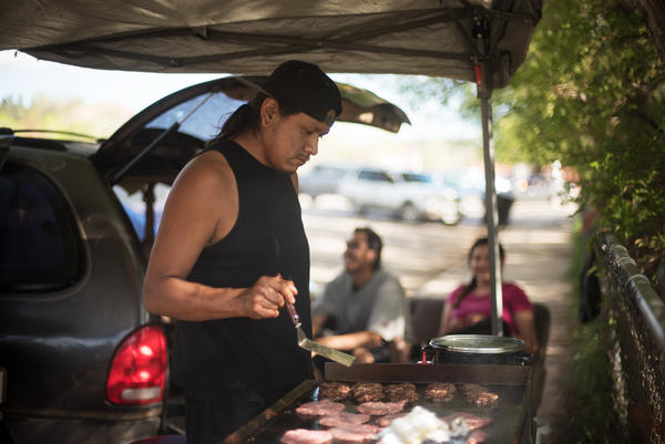 "When he can't find work, Ernest Littlebird makes his own, selling hamburgers for a dollar along Route 39 just near Lame Deer, Mont. ""We've got to do something,"" he says of the tribal economy."