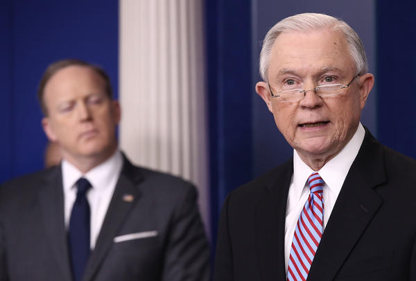 U.S. Attorney General Jeff Sessions delivers remarks during the daily White House press briefing on March 27.