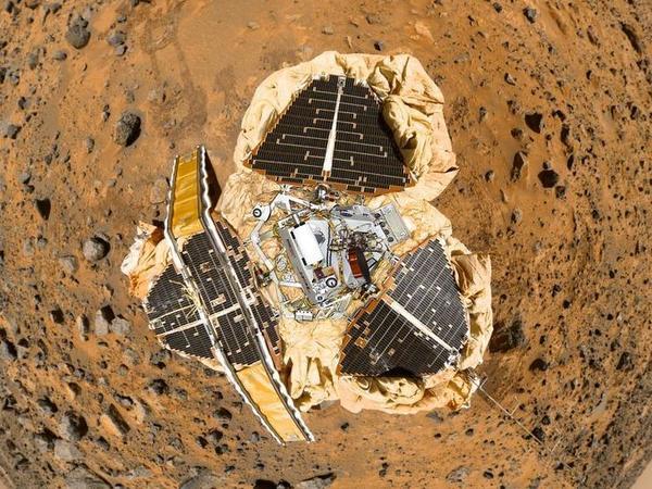 A composite self-portrait of the Mars Pathfinder.