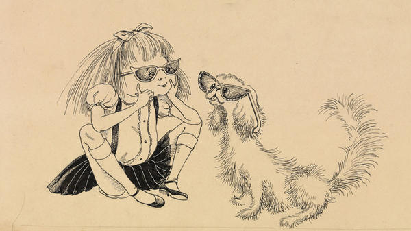 Eloise's dog, Weenie, wasn't always a pug, as evidenced by this 1954 Hilary Knight drawing.