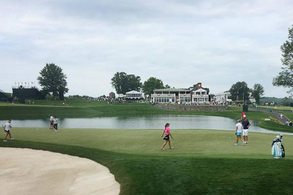 Golfers work on the 16th green during a practice round Wednesday at Trump National Golf Club in Bedminster, N.J. The U.S. Women's Open Golf Championship starts there today.