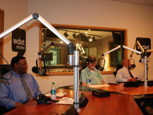 Former Detroit police chief Ike McKinnon (L), Motown musician David Coffey (center), and former Detroit Mayor Dennis Archer (R).
