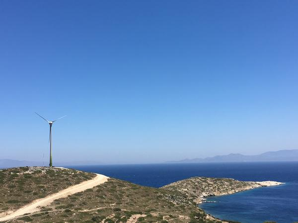 A view of the newly-erected wind turbine on Tilos, Greece, part of a microgrid that, along with a solar park and a renewable battery system, will power the island.