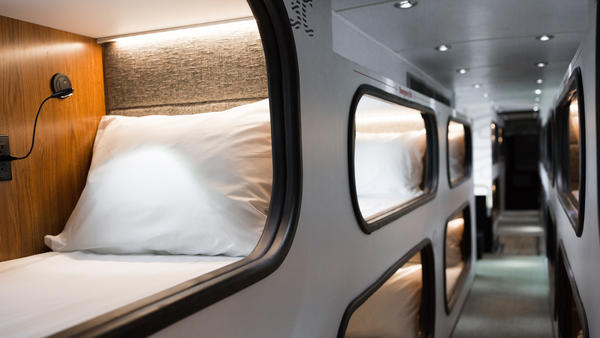 Cabin is a bus with pods for sleeping. It currently offers service between Los Angeles and San Francisco, starting at $115 each way.
