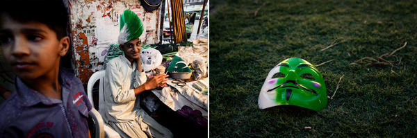 Left: Youths sell paraphernalia in the colors of Pakistan's flag to celebrate its Independence Day on Aug. 14. Right: An anonymous mask in Pakistan's national colors of white and green lies on the grass of a park in Lahore.