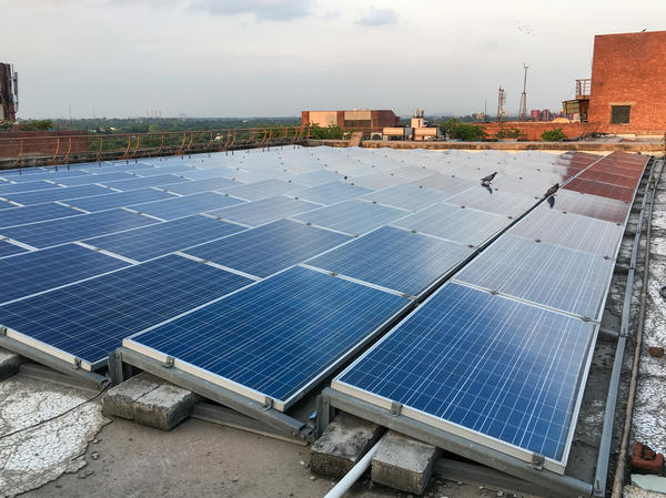When solar panels are clean — like the ones on the rooftop of Delhi's Habitat Center, a conference and office complex in the central part of the city — solar energy production typically doubles, according to a new study led by Duke University researchers.