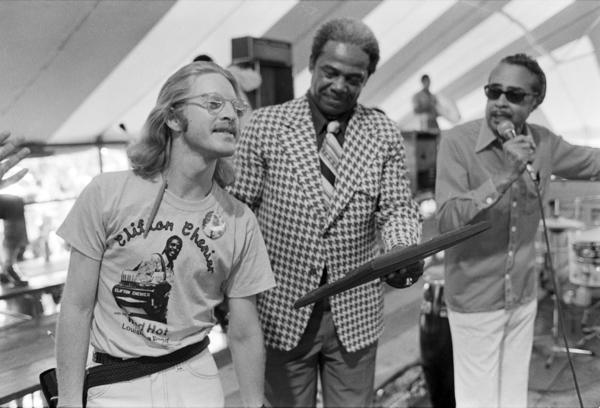 "A Jazz Fest tableau from 1977. Left to right: A youthful Quint Davis, Gospel Tent godfather Sherman Washington and radio DJ Vernon ""Dr. Daddy-O"" Winslow."