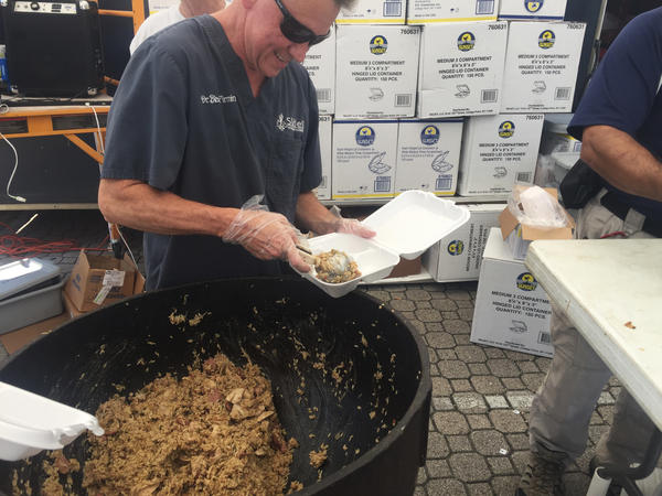 Volunteers from Catholic men's clubs in Slidell, La., have been serving up three hot meals a day.