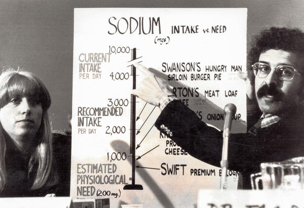 Michael Jacobson (right) and Bonnie Liebman, CSPI's director of nutrition, launching a campaign against over-salted food in the late 1970s.