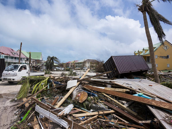 Famage in Orient Bay on the French Carribean island of Saint-Martin, after the passage of Hurricane Irma.